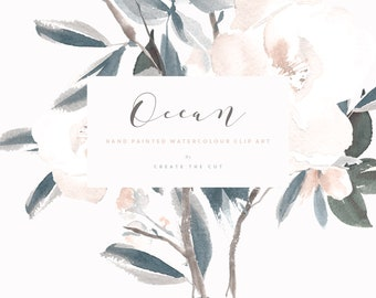 Hand Painted Watercolor Clipart - Ocean