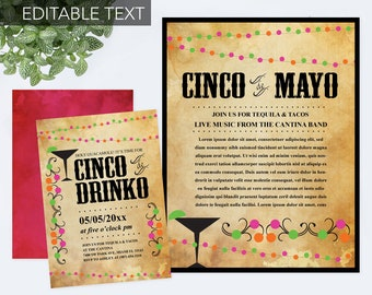 Editable Cinco de Mayo Invite with Free Flyer, Fiesta Birthday Party Invitation, Instant Download, Mexican Fiesta Theme, Editable Text PDF