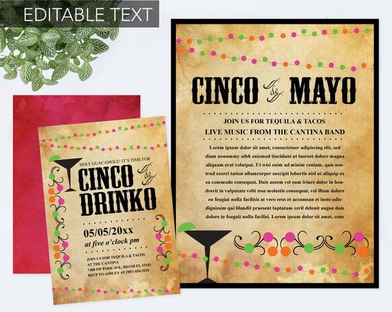 editable cinco de mayo invite with free flyer fiesta birthday