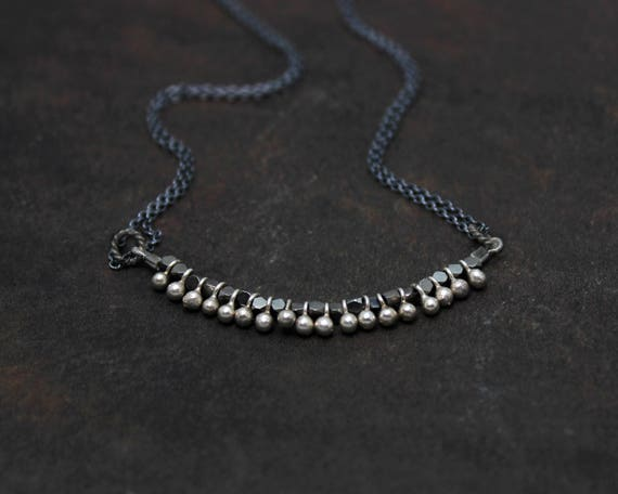 Mixed Metal Necklace. Unique Mini Fringe Necklace. Simple Layering Necklace. Black and Silver or Black and Gold.  N2383