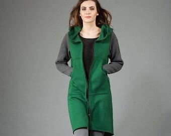 Women's Hoodie, Cotton Coat with Knit Sleeves, Warm Hoodie, Hooded Coat, Handmade, Dark Green Hoodie,Handmade by Navaho,Clothes Navaho