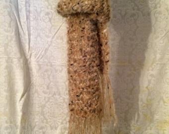 Soft tan tweed scarf
