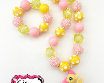My Little Pony Necklace & Bracelet Set - Fluttershy - Chunky Bubblegum Bead 20mm Set Birthday Gift  MLP Princess Pony Chunky Necklace