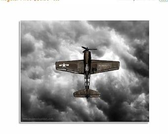 FLASH SALE til MIDNIGHT Boys nursery ideas, airplane pictures, nursery decor Vintage Wwii Prop Plane Brown Vertical Fighter, Photo Print