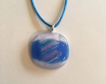 White with blue and fire glass fused glass necklace