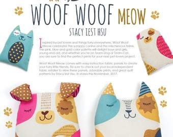 Woof Woof Meow - Fabric Panel for Stuffed Cuddlies - Cat or Dog