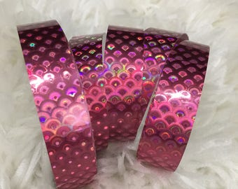 Pink Holographic Fish Scale Polypro Hoop