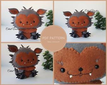 PDF PATTERN. Baby Werewolf Cute PDF Felt Pattern