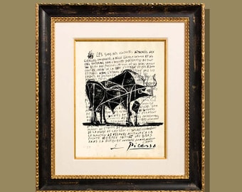 """Bull - Picasso  8.5""""x11"""", printed on a letter written by Picasso, Modern Art, Giclee print, Fine Art Print, Picasso sketch print, Abstract"""