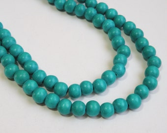Turquoise Blue wood beads round 8mm full strand eco-friendly Cheesewood 9451NB