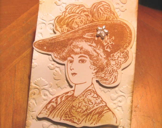 Gibson Girl Gift Tags, Hand Stamped Large Sepia Embossed Paper, Wedding Tags, Vintage Victorian, Steampunk Look, Bridal Shower Tags, 4 Tags