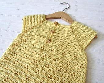 Crochet Daisy Dress Written Pattern - Baby / Little Girl's Pretty Summer Dress / Tunic Crochet Pattern
