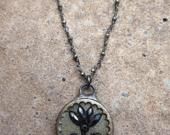 Hand Soldered Vintage Flower Button Necklace