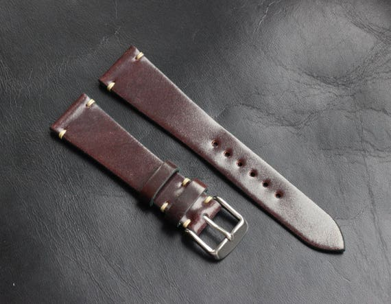 Col #8 Horween Shell Cordovan watch band - simple stitching