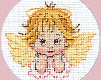 """Cross stitch pattern """"Little Angel"""" Instant download in PDF. Cute pattern for kids and beginners."""