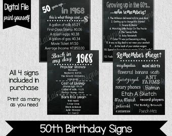 50th Birthday Party Decor - 1968 - Fun Facts - 60's Themed Party - 50th Birthday Centerpieces - Digital - Decor- 50th Birthday - Fifty - 50