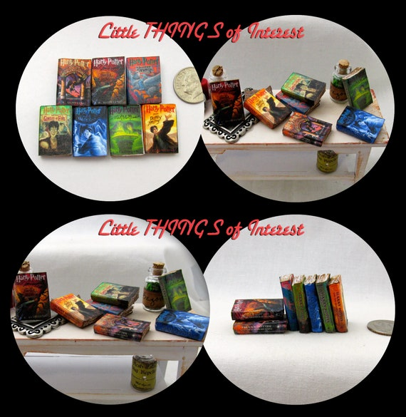 1:6 Scale Popular BOY WIZARD Book Series Miniature Book Set 7  PROP Books Faux Magic Witch Fortune Teller Gypsy Potter Real Paper Pages