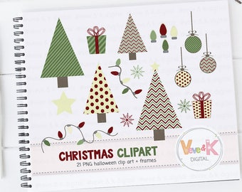 Christmas Clipart, Christmas Tree Clipart, Cute Christmas Clipart, Winter Card Overlays, Snowflakes Clipart, Holiday Clipart, Commercial Use