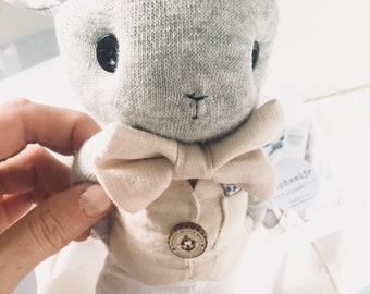 Grey wool/cashmere blend sock bunny softie baby toy