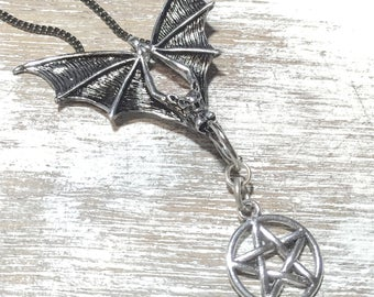 Bat Necklace-Vampire-Goth-Batcave-Bat jewelry-Pentagram jewelry-Gothic necklace-Flying Bat-Winged Creature-Bat with pentagram-Dracula