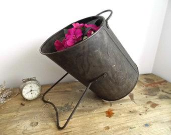 Vintage Black Coal Scuttle Bucket Cauldron Pail Handles Large Metal Container Rustic Planter Pot Primitive Industrial Fireplace Garden Decor