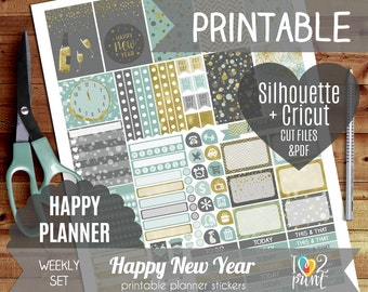 New Year Weekly Printable Planner Stickers, Happy Planner Stickers, Weekly Stickers, HP Stickers, Mambi Stickers - Cut files
