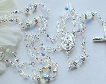 Swarovski AB Crystal Miraculous Medal Rosary,  Small Bead
