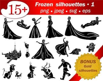 Frozen SVG silhouettes cricut cameo Disney castle Cartoon sublimation Vector silhouette gold glitter png silhouette Craft supplies svg