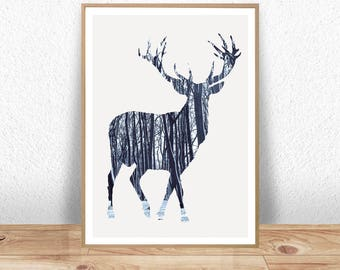 Deer Print, Deer Poster, Nursery Print, Animal Print, Nursery Animal Art, Animal Poster, Nursery Decor, Wall Art, Wall Decor, Art Prints