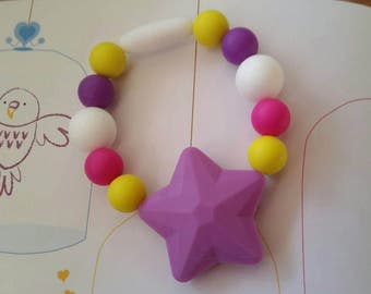 Star Silicone beaded fidget bracelet, Focus Bracelet, Teething Bracelet, Teething Beads, BPA Free, Fidget Jewelry, Sensory Jewelry