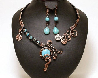 Copper Statement Necklace Turquoise Necklace  Adjustable Necklace Open Necklace  Wedding Necklace Bridesmaid necklace Necklace Copper Choker