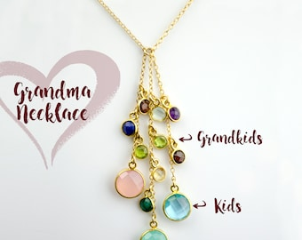 Grandma necklace with custom birthstones, Mothers day gift for grandmother with grandkids birthstones, family tree necklace, tree of life
