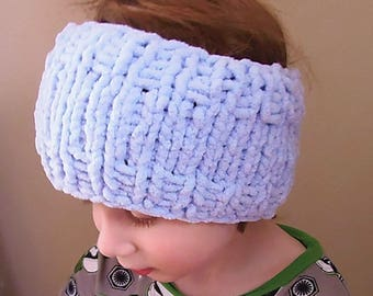Handknit Children's Chenille Earwarmer- Super cozy!