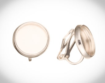6Pcs Clip On Non Pierced Earrings Finding With 10mm Bezel Cup Silver Plated