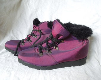 90s Purple Iridescent Faux Fur Lined Ankle Boots