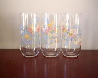 Set/3 Retro Pastel Floral Glasses