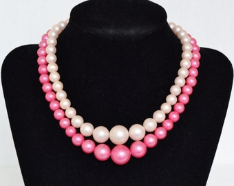 Vintage Necklace with Double Strands of Pink Faux Pearls