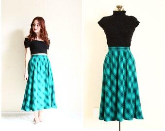 high waisted skirt | green and black plaid midi skirt | wool circle skirt [ 26 waist, small - medium ]
