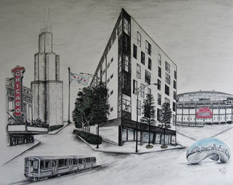 Custom made Chicago landmarks drawing-16x20-Example only