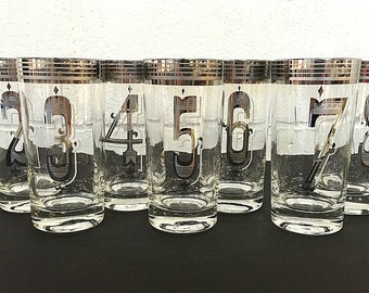 Silver Platinum Numbered Highball Glasses Tumblers Vintage Retro Barware Set of 7