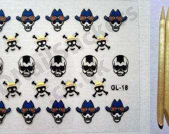 GL-18 Halloween Cowboy Hat Skulls Cross Bones 3D Nail Art Stickers + FREE 5x wood cuticle sticks