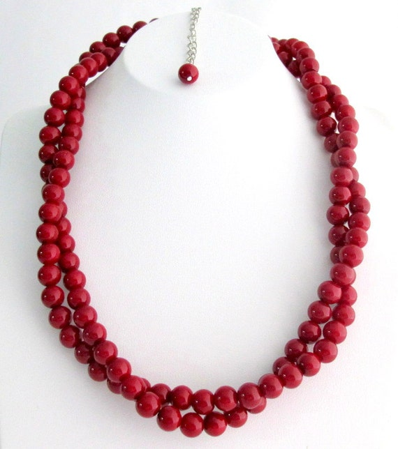 Red Pearl Twisted Necklace Two Strand Necklace Double Strand Necklace Christmas Holiday Gift Bridesmaid Necklace Free Shipping In USA