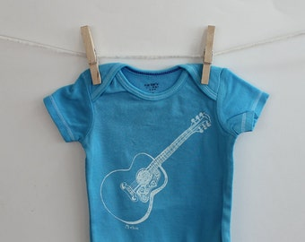 Guitar Screenprinted Cotton Baby Bodysuit, Infant Creeper, One Piece Snapsuit, Turquoise, Aquamarine, baby shower, music, musician, acoustic