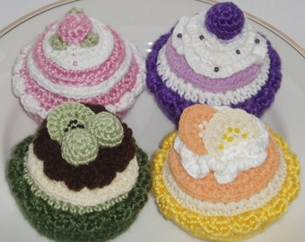 Crochet Pattern - instant download pdf - Crochet Cakes and Tarts both US and UK terminology