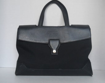 Cole-Haan Bag, Black Leather and Fabric, Fold-Over Flap, Cole-Haan Handbag