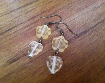 Yellow Leaf Czech Glass Bead Earrings
