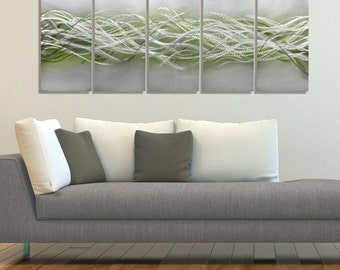 NEW! Silver & Green Modern Metal Painting - Contemporary Home Decor - Abstract Metal Wall Art - Home Accent - Blades of Spring by Jon Allen