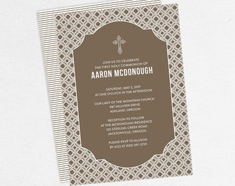 First Communion Invitation, First Holy Communion Invitation, Religious, Printed, PDF, DIY Communion Invitation, Boy Invitation, Brown, Aaron