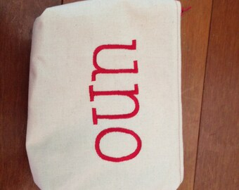 Embroidered Zipper Pouch-Uno (EZip 2)