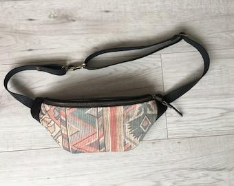 Fanny pack, Hip bag,  Leather waist pack, Hippy fanny pack, Festial bag, Belt bag, Boho hip bag, Tribal bum bag, Gift for girl, Travel pouch